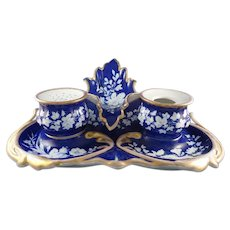 KPM Porcelain Cobalt and Gold Inkstand