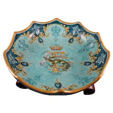 Beautiful French Faience Ulysse Blois E. Balon Bowl with Francis I Crest