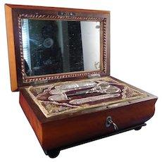 Vintage Palais Royal Satinwood Musical Sewing Box, Circa 1820