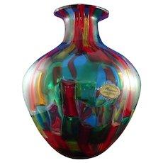 Beautiful Murano Italian Art Glass Multi-Color Vase