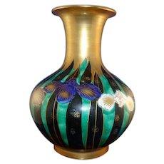 Beautiful Signed Japanese Porcelain Vase with Iris and Gilt Decoration