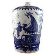 18th Century Worcester Blue and White Tea Canister Fisherman Pattern