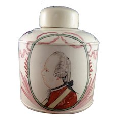 18th Century Leeds Creamware Tea Canister Prince William V of Orange