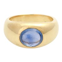 Heavy Vintage 14KT Large Sapphire Cabochon Band Gypsy Ring