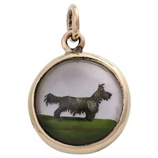 Vintage 14K Gold Essex Crystal Reverse Painted Terrier Dog Pendant
