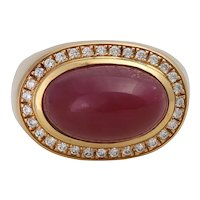 Vintage 18K Gold Ruby Cabochon Statement Ring