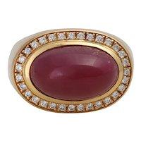 Vintage 18K Gold Ruby Cabochon Statement Ring