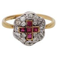 Edwardian 14K Gold & Platinum, Diamond & Ruby Cluster Ring