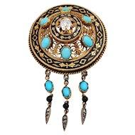 Antique Victorian Turquoise Diamond Enamel Fringe Brooch18KT Gold Circa 1870