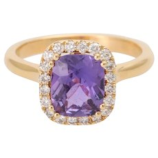 RARE 18KT RG Natural Purple Sapphire and Diamond Cluster Engagement Ring Certified