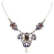Late Georgian Garnet Diamond and Enamel Necklace