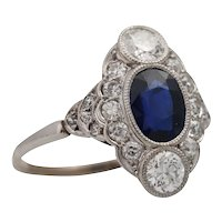 Art Deco Platinum Sapphire and Diamond Cluster Engagement Ring