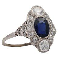 Art Deco Platinum Sapphire and Diamond Cluster Engagement Ring