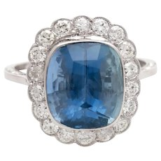 Vintage 18K Natural Blue Sapphire and Diamond Halo Engagement Ring