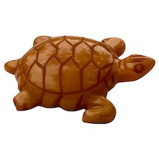 Vintage Carved Butterscotch Yellow Bakelite Turtle Brooch Pin