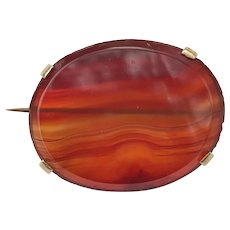 Antique Victorian 15K Gold and Banded Agate Brooch Pin