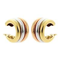 Vintage Cartier Trinity Tri Colour 18k Gold Hoop Earrings, Clip On Earrings