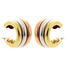 Vintage Cartier Trinity Tri Colour 18k Gold Hoop Earrings, Clip On Earrings