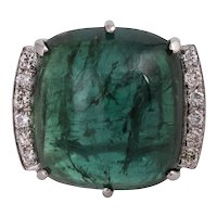 18KT Green Tourmaline Cabochon Statement Ring