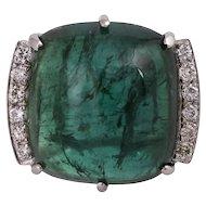 18KT Green Tourmaline Cabochon Statement Ring