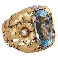Vintage 14K Floral Aquamarine Cocktail Ring