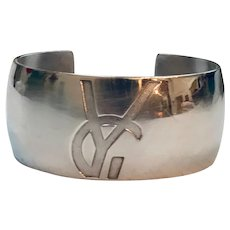 Vintage Yves Saint Laurent Sterling Silver Cuff Bracelet YSL Logo Design In Original Box