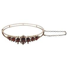 Antique 8KT Rose Gold Garnet & Seed Pearl Hinged Bangle Bracelet