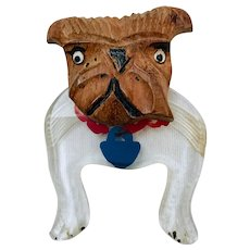 Vintage Carved wood and Lucite Bulldog Brooch Pin