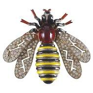 Large 1940s FENICHEL Rhinestone and Enamel Bee Brooch Pin