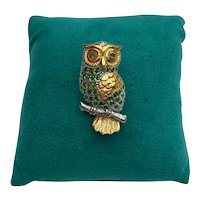 Gold Plated Sterling Silver Gemstone Owl Brooch Pin