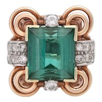 Vintage 14KT Rose Gold Green Tourmaline and Diamond Ring