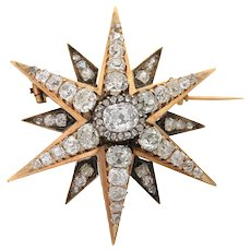 Antique Victorian 18K Yellow and Rose Gold Diamond Star Brooch