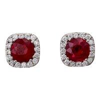 Pair of Burmese Pigeon Blood Red Ruby and Diamond Platinum Stud Earrings