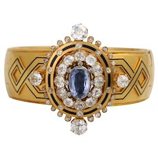Extraordinary 18K Victorian Sapphire and Diamond Hinged Bangle