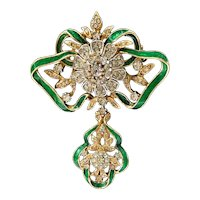 Attwood Sawyer Goldtone Rhinestone Green Enamel Crown Jewels Brooch
