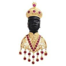 18KT Gold Venetian Blackamoor Brooch Clip