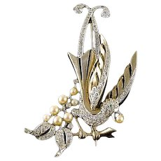 Rare 1940s MB Boucher Gold and Rhinestone Lyrebird Brooch Pin, Book Piece