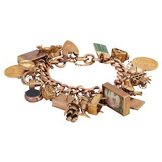 Heavy Vintage Gold Charm Bracelet with 23 Extraordinary Charms