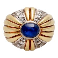 Vintage 1940s 14K Gold Sapphire and Diamond Cocktail Ring