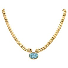 Vintage 18K BVLGARI Aquamarine and Diamond Necklace