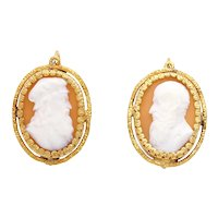 Antique 14KT Yellow Gold Cameo Earrings