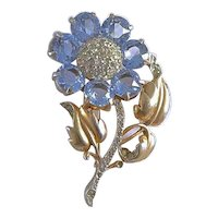 Vintage 1942 Reja Sterling Silver Blue Crystal Flower Brooch Pin