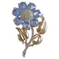 Vintage 1942 Reja Sterling Silver Blue Crystal Flower Brooch Pin