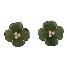 14K Rose Gold Jade and Diamond 'Four Leaf Clover' Clip-On Earrings