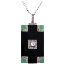 An ART DECO Diamond Onyx and Jade Pendant Necklace