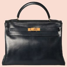 Vintage 1977 Hermès Kelly Retourne Bag 32 Midnight Blue