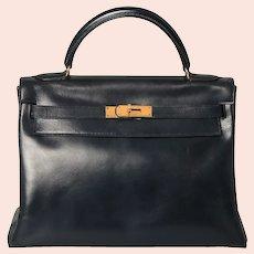 Vintage 1977 Hermès Kelly Retourne Bag 32 Midnight Blue