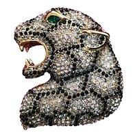 Large Vintage Butler & Wilson Rhinestone Crystal Leopard Head Brooch