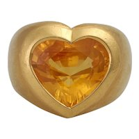 Large Vintage 18K 6 Carat Yellow Sapphire Heart Ring