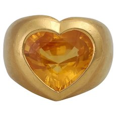 Large Vintage 18K 6 Carat Yellow Sapphire Heart Ring